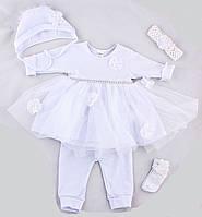 Крестильный комплект для девочки ПаМаЯ (белый)