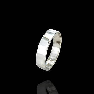 Серебряное обручальное кольцо Американка плоское, фото 2