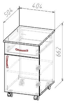 Тумба мобильная ( ящик, двери ), фото 2