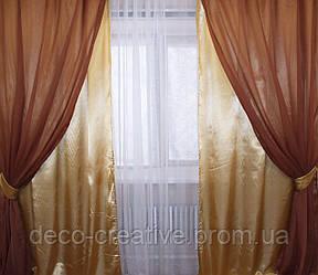 Комплект декоративных портьер атлас и шифон 010дк