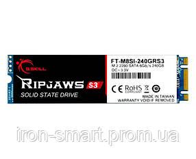 Твердотельный накопитель M.2 240Gb, G.Skill Ripjaws S3, SATA3, TLC, 550/500 MB/s (FT-M8SI-240GRS3)