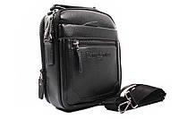 Мужская сумка Samsonite, прессованная кожа, цвет черный, прямоугольной формы (барсетка, сумка через плечо)