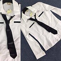 Детская белая рубашка_с классическим галстуком_оптом