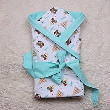 Красивый конверт-одеяло деми Smile бирюза