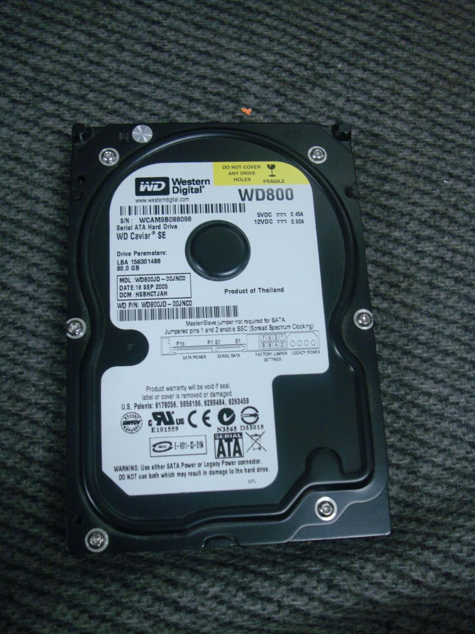 Жесткий диск для ПК WD800 80GB SATA II 7200 об/мин