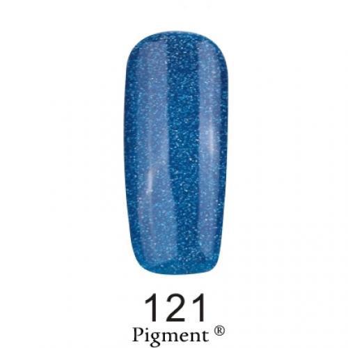 Гель лак Fox Pigment 121 Синий с серебряным глиттером