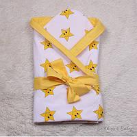 Красивый конверт-одеяло деми Smile звезды желтый