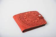 Красный кожаный кошелек ручной работы