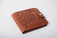 Коричневый кожаный кошелек с орнаментом ручной работы, женский кошелек