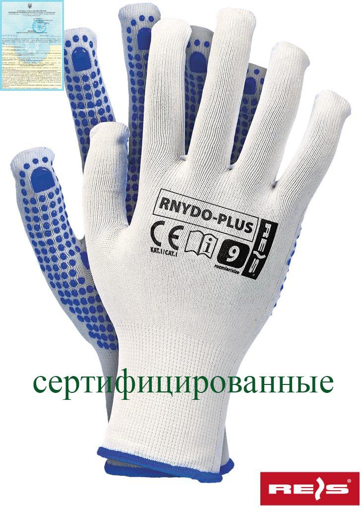 Захисні рукавички з поліестрової пряжі з точковим покриттям з одного боку RNYDO-PLUS WN