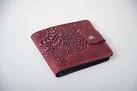 Фиолетовый кожаный кошелек с орнаментом ручной работы, женский кошелек