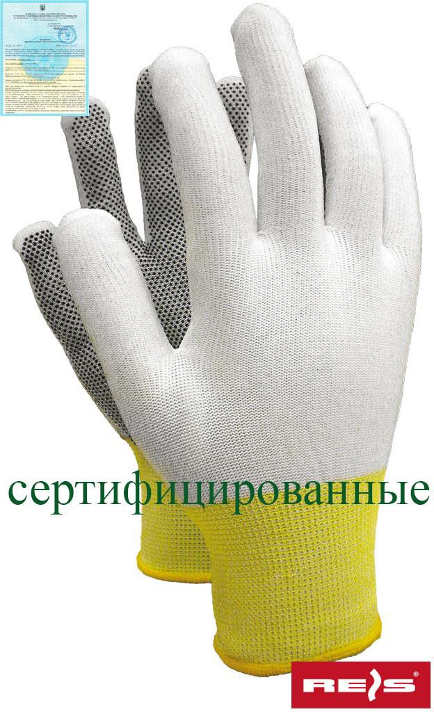 Рукавички робочі з поліестеру з микроточечным покриттям Reis Польща RTENA WB