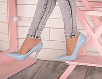 Голубые туфли лодочки на каблуке