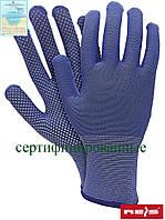 Перчатки рабочие из полиестера с микроточечным покрытием синие Reis Польша RTENA NW
