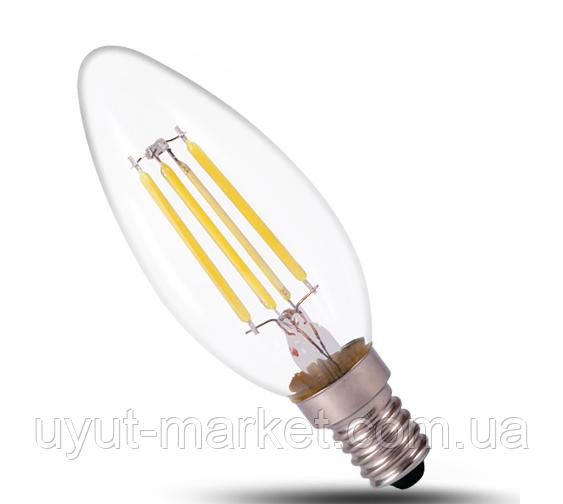 Светодиодная лампа прозрачная Filament 4Вт Е14 LB-58 C37 4000K, фото 1