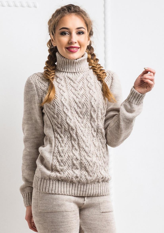 9a2cd039493 Шерстяной вязанный тёплый свитер. Светло-серый