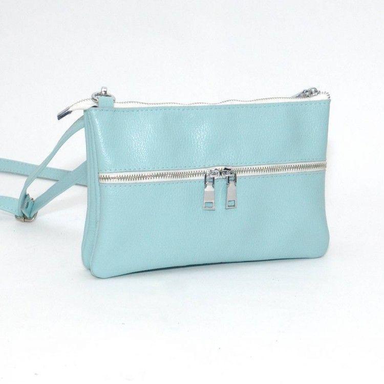 1672f9fc90f2 Кожаная женская сумочка голубого цвета BagTop арт. BTJS-28-3 - Интернет-