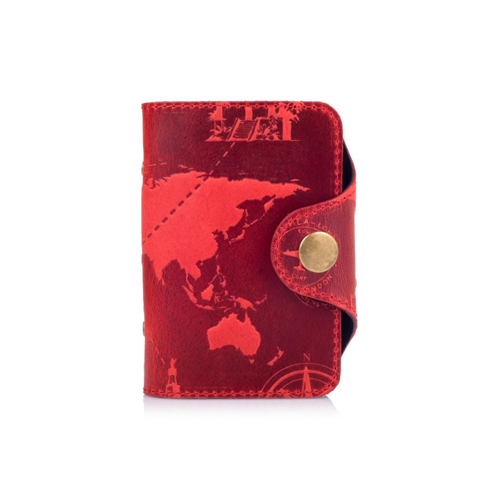 """Удобный кожаный картхолдер красного цвета с художественным тиснением """"7 wonders of the world"""""""