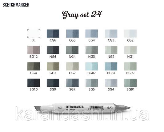 Набор SCETCHMARKER 24цвета тонкий-скошенный Gray Set 24gray, фото 2