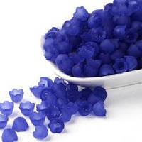 Бусины, цветок, акрил, матовые, синие, 10х6 мм (90шт) УТ00009633
