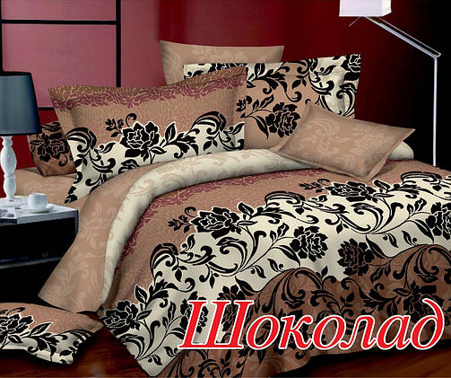 Комплект постельного белья Евро HomeLine Сатин 200х220 ШОКОЛАД, фото 2