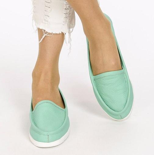 Балетки туфли женские на низком ходу из натуральной кожи флотар