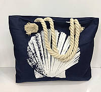 "Пляжная сумка 1556 ""Ракушка"" синяя женская текстильная на канатах 54 см х 36 см х 12 см"