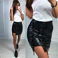 Женская стильная  юбка со шнуровкой