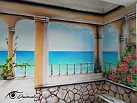 Настенная живопись в интерьере кухни (Терраса с видом на море)