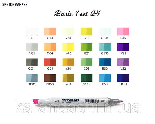 Набор SCETCHMARKER 24цвета тонкий-скошенный Basic Set1 24BAS1, фото 2