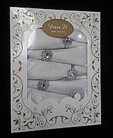 Подарочный набор-скатерть с салфетками и кольцами 150*220.Белая.