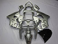Пластик для мотоцикла Kawasaki ZX6R 00-02 Silver Flame