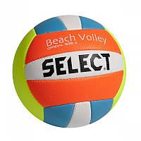 Мяч для пляжного волейбола Select Beach Volley Белый/Голубой/Оранжевый/Желтый