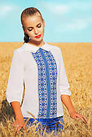 Легкая блузка с мотивами украинского узора синяя Вышиванка блуза Тамила2 д/р
