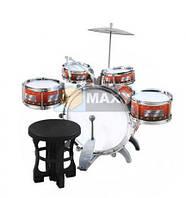 Набор детских барабанов + стульчик + тарелка, ударная установка XL. Польша. И.