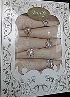 Подарочный набор-скатерть с салфетками и кольцами 150*220.Золотистая с золотым узором