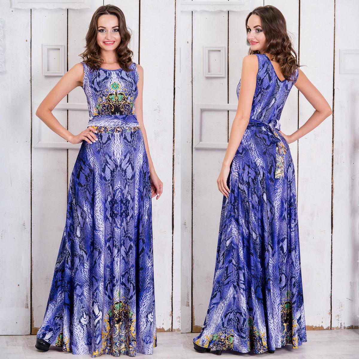 """Синее длинное платье в пол с змеиным принтом """"Янита"""""""