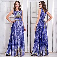 """Синее длинное платье в пол с змеиным принтом """"Янита"""", фото 1"""