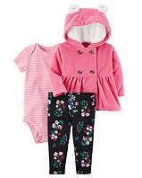 """Набор флис """"Розовое счастье"""" лосины, боди и худди Carter's для девочки розовый,чорный 9 мес/67-72 см"""