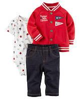 """Набор """"Стиляга""""штанишки, боди и худди Carter's для мальчика красный 18 мес/78-83 см"""