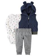 """Набор """"Ушки"""" синий жилетка,штанишки и боди Carter's для мальчика синий 12 мес/72-78 см"""