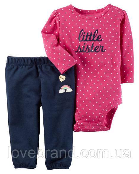 """Набор """"Радуга""""штанишки и боди Carter's для девочки розовый, синий 9 мес/67-72 см"""