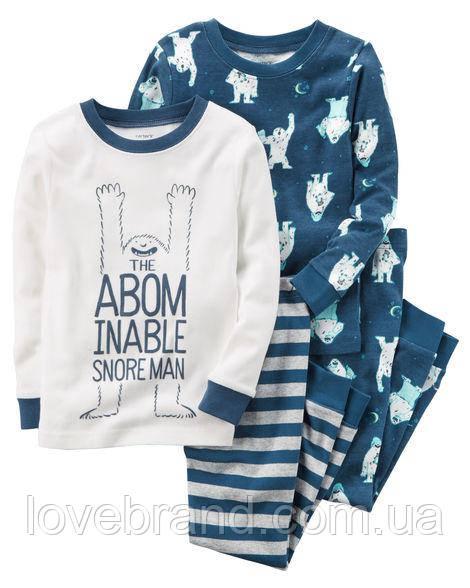 """Набор с двух пижамок 4 в 1 """"Мишка"""" Carter's для мальчика голубой, белый 5Т/105-111 см"""