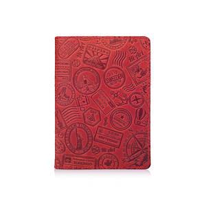 """Красная дизайнерская кожаная обложка для паспорта, коллекция """"Let's Go Travel"""""""