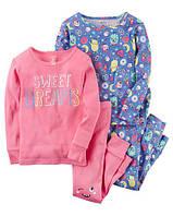 """Набор с двух пижамок 4 в 1 """"Сладкие сны"""" Carter's для девочки синий, розовый 5Т/105-111 см"""