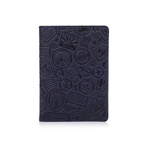 Синяя обложка для паспорта ручной работы с художественным тиснением