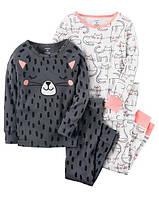 """Набор с двух пижамок 4 в 1 """"Котик"""" Carter's для девочки серый, белый,чорный 5Т/105-111 см"""