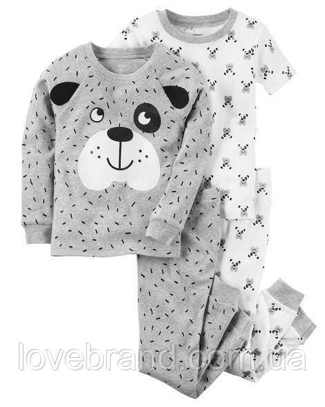 """Набор с двух пижамок 4 в 1 """"Песик"""" Carter's для мальчика белый,чорный 5Т/105-111 см"""