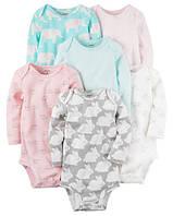 """Набор боди 6 шт """"Зайчики""""  Carter's для девочки бирюзовый, розовый, серый, белый 9 мес/67-72 см"""