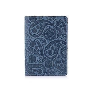 """Дизайнерская кожаная обложка для паспорта голубого цвета, коллекция """"Buta Art"""""""